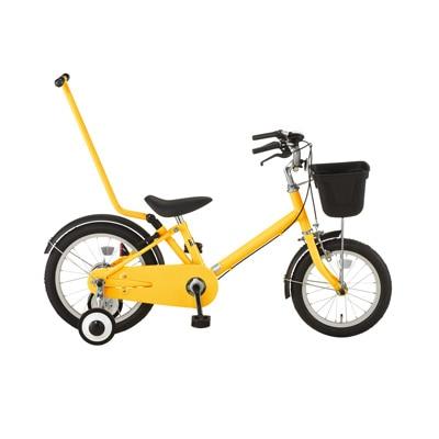 16型幼児用自転車・押し棒付き イエロー