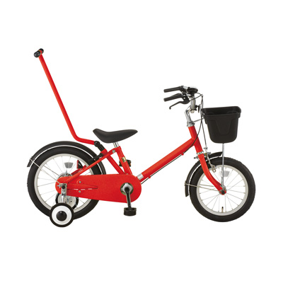 16型幼児用自転車・押し棒付き レッド