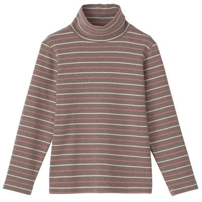 起毛スムースボーダーハイネック長袖Tシャツ トドラー・110・茶