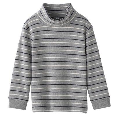 起毛スムースボーダーハイネック長袖Tシャツ ベビー・90・グレー