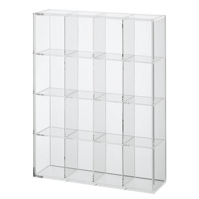 後ろが透けないアクリルコレクションボックス・4×4小間 幅27.5×奥行7.2×高さ34.7cm