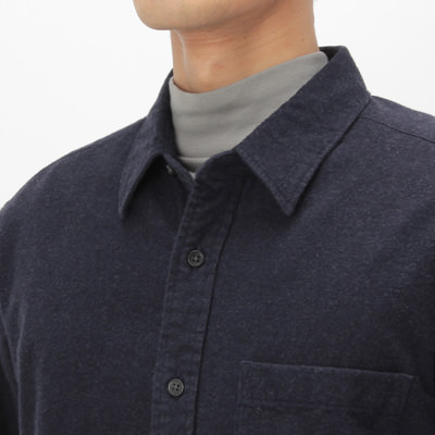 Organic Cotton Flannel Shirt: Navy