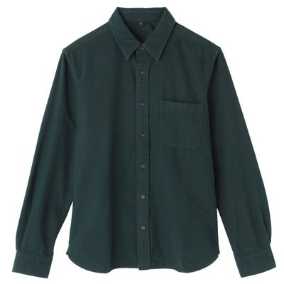 Organic Cotton Flannel Shirt: Dark Green