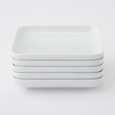 【まとめ買い】白磁正角皿・小 5枚セット