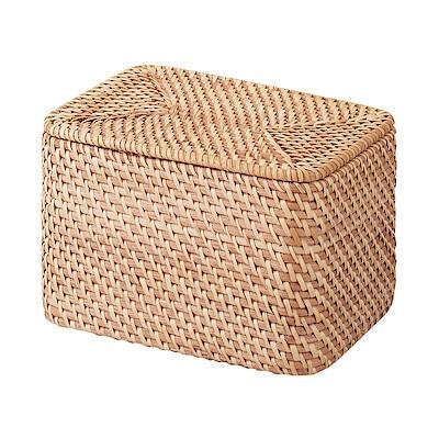 重なるラタン長方形ボックス・フタ付 (V)約幅26×奥行18×高さ16cm