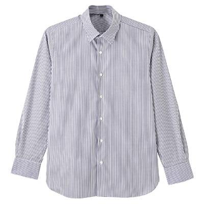 【店舗限定】超長綿ピンオックスレギュラーカラーシャツ 紳士L・ネイビー