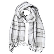 French Linen Patterned Stole L.gray
