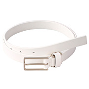 Tanned Leather Slim Adj Belt W Square Buckle None White