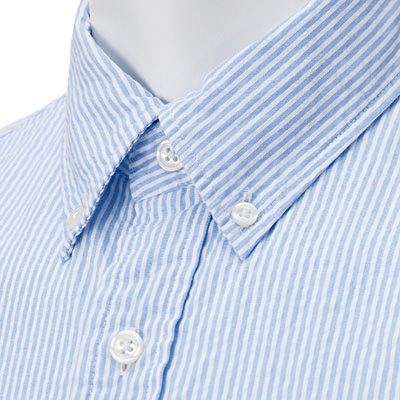 Organic Cotton Seersucer Short Sleeve Buttondown Shirt: Light Blue