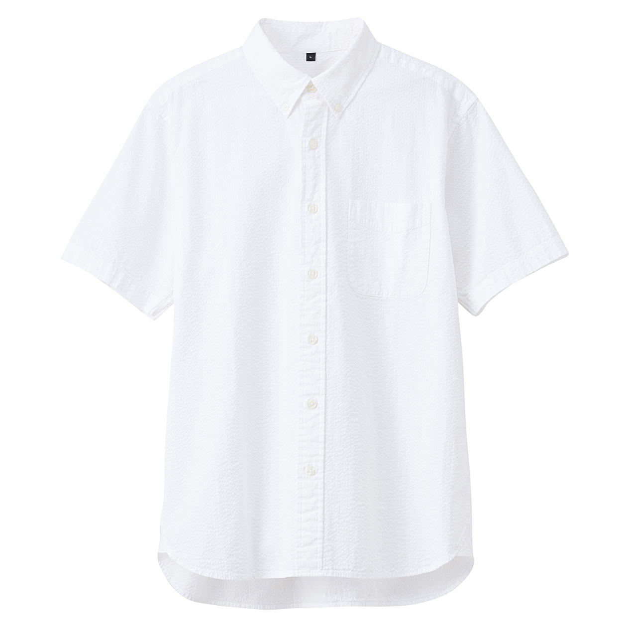 Organic Cotton Seersucer Short Sleeve Buttondown Shirt: White