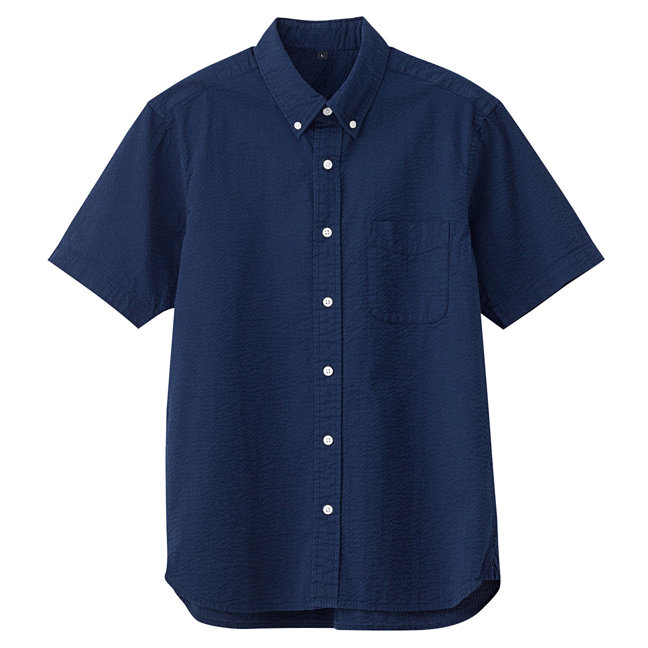 Organic Cotton Seersucer Short Sleeve Buttondown Shirt: Navy