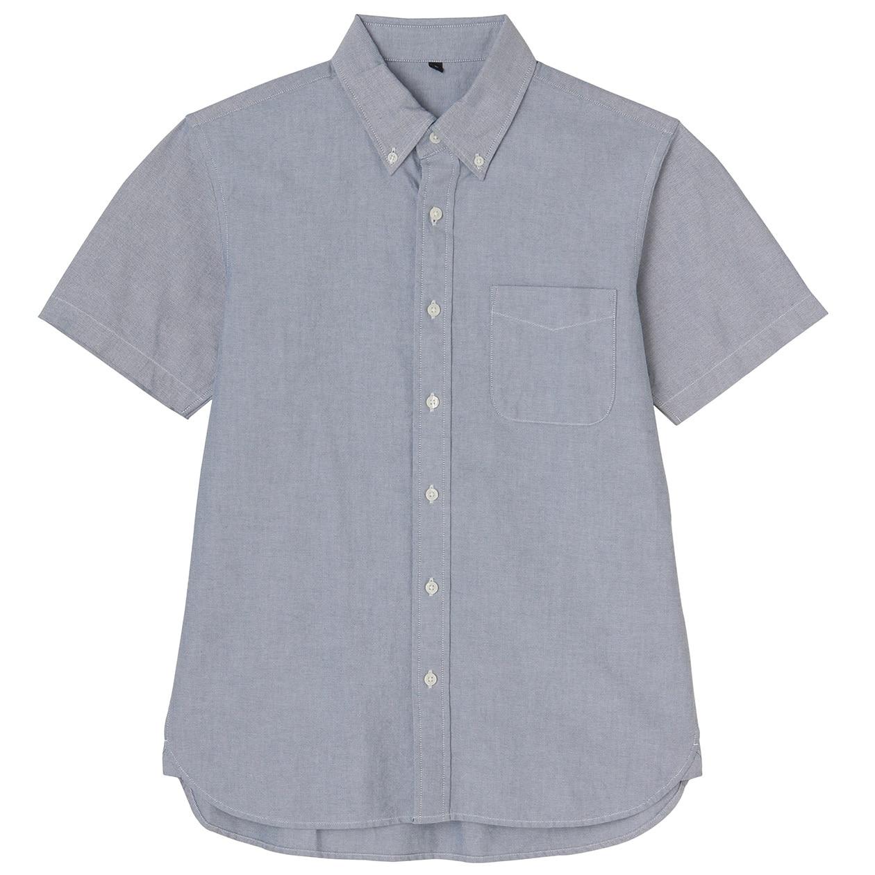 Organic Cotton Oxford Button Down S S Shirt Men S Blue Muji
