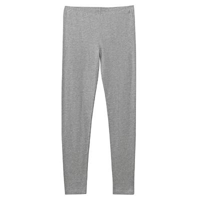 女有機棉混彈性天竺全長緊身褲灰色M