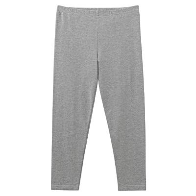 女有機棉混彈性天竺七分緊身褲灰色M