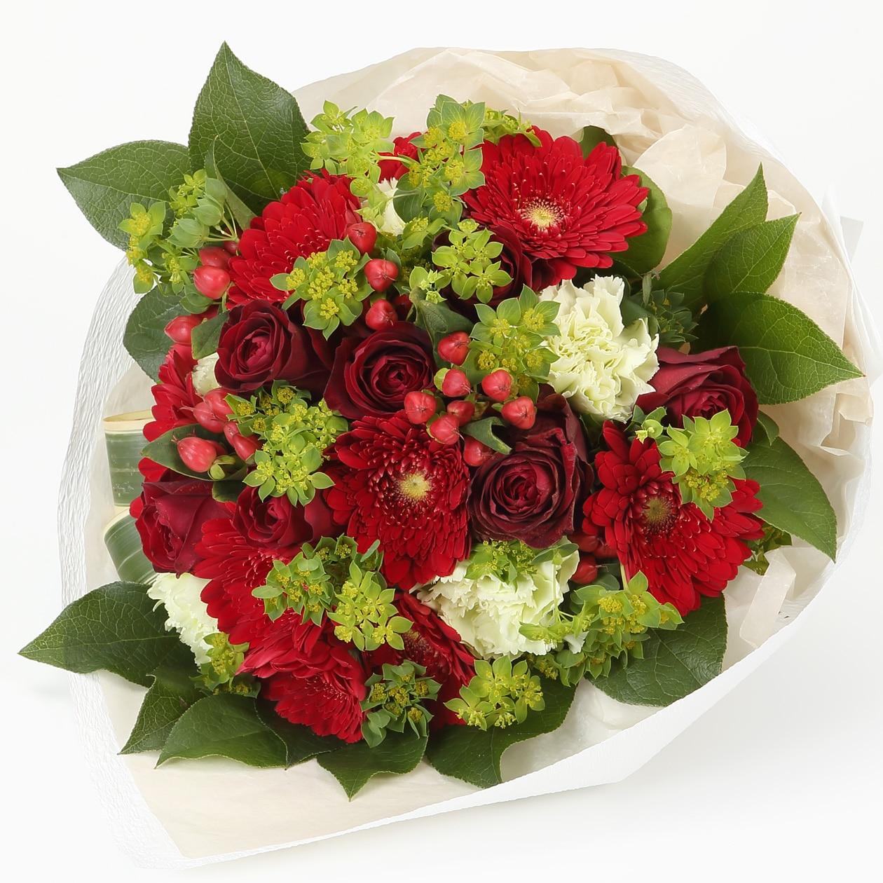 ネット限定】バラとガーベラのブーケ・L赤 通販