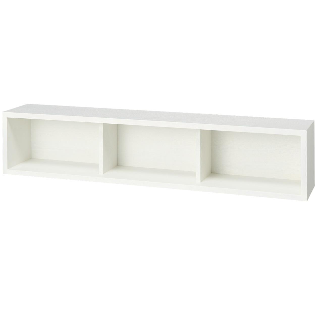 壁に付けられる家具・箱・幅88cm・タモ材/ライトグレーの写真