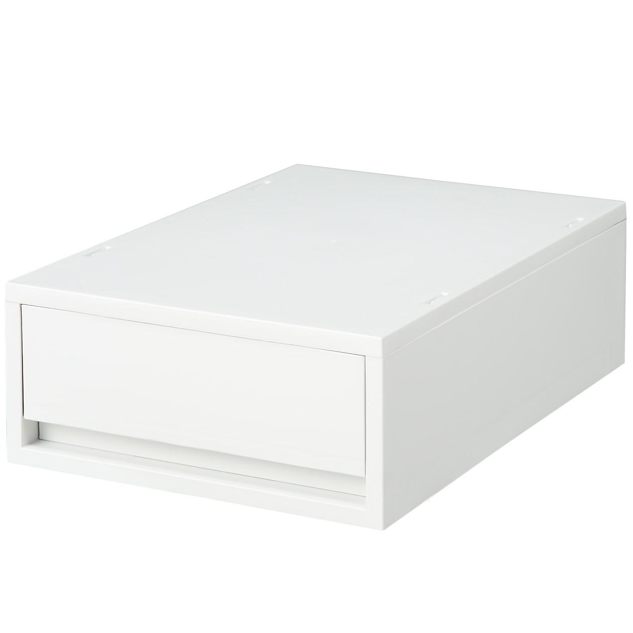 ポリプロピレンケース・引出式・浅型・ホワイトグレー ホワイトグレー