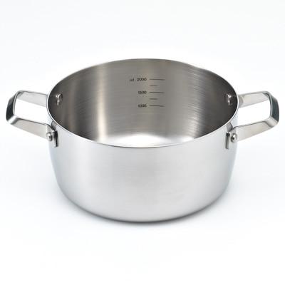 無印良品 | ステンレス アルミ全面三層鋼・両手鍋・フタ付・20cm約3.0L/約幅29×高さ10cm 通販