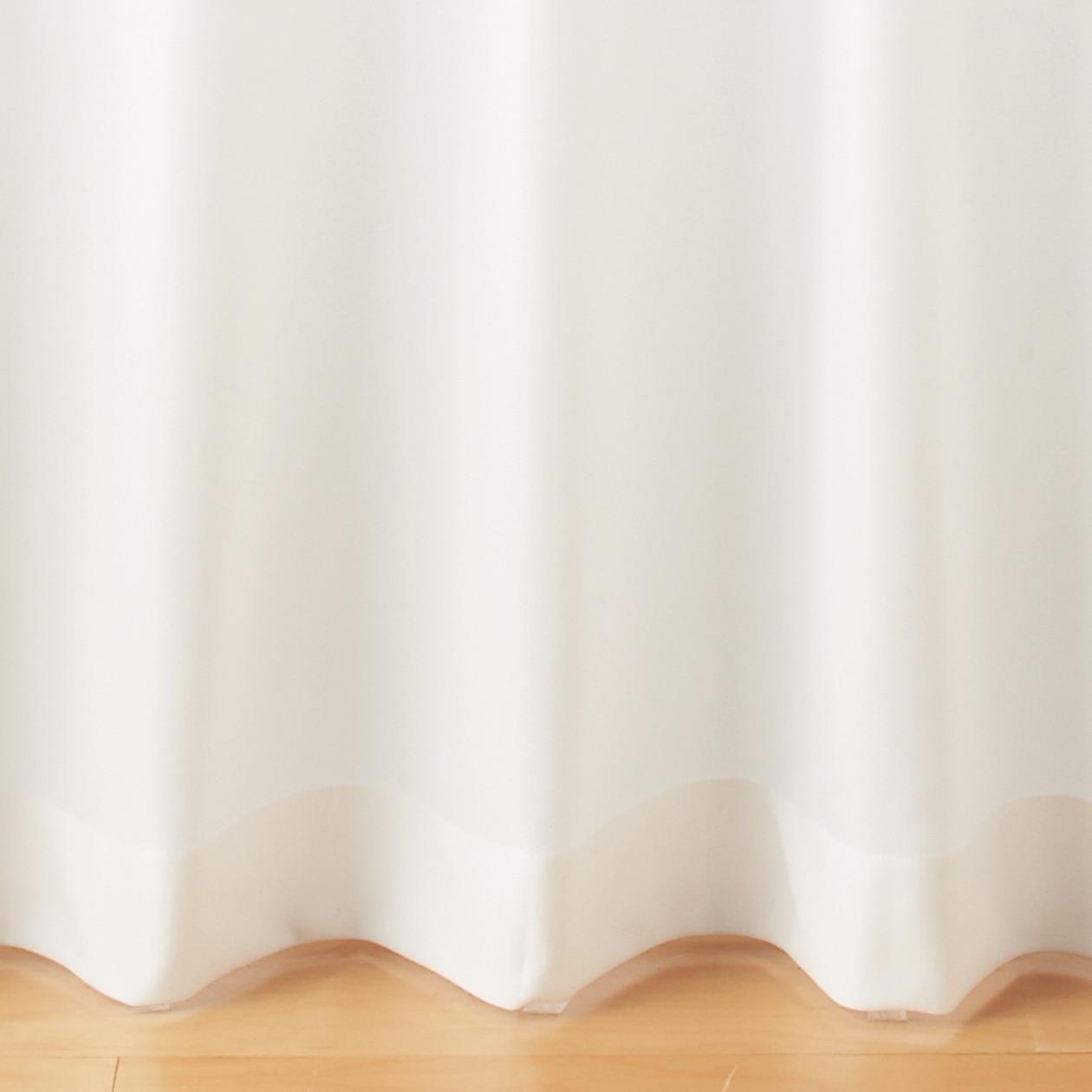 ポリエステル透けにくい防炎レースプリーツカーテン/オフ白の写真
