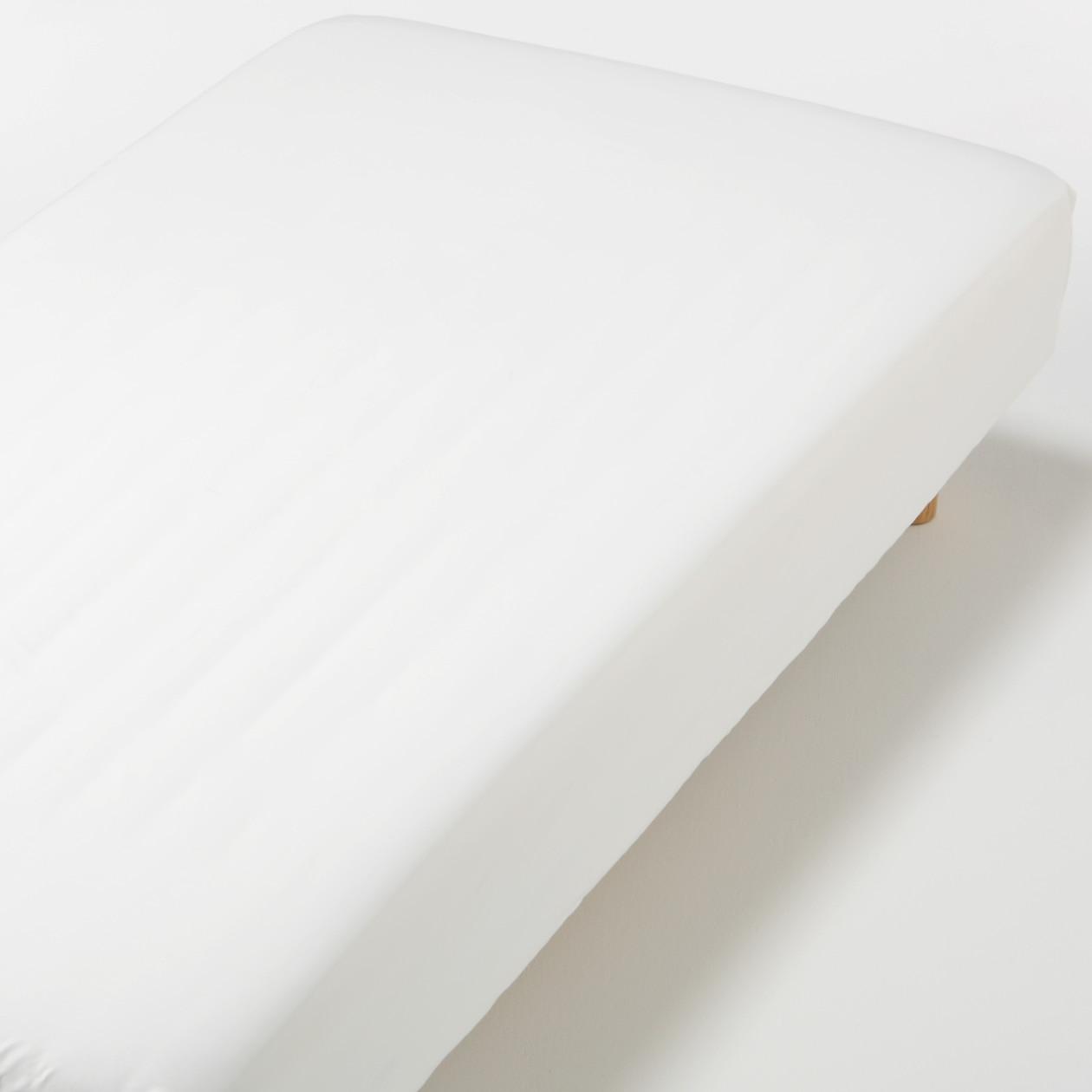 インド綿高密度サテン織ホテル仕様ボックスシーツS/オフ白
