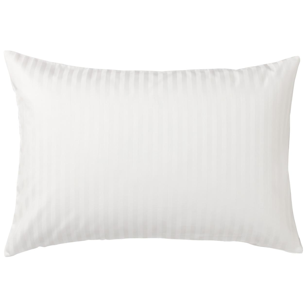 インド綿高密度サテン織ホテル仕様まくらカバー/オフ白ストライプ