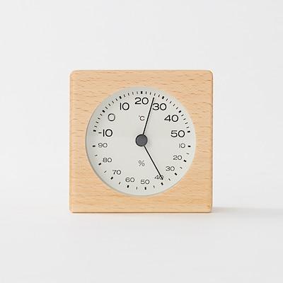ブナ材温湿度計