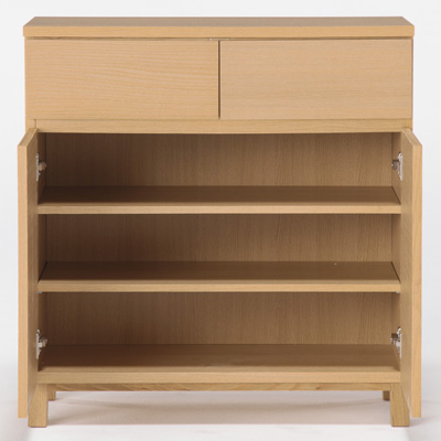 Oak Cabinet Wooden Door W80 D40 H83cm Muji