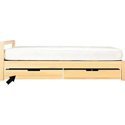 パイン材ベッド下収納ボックス・仕切付きの写真