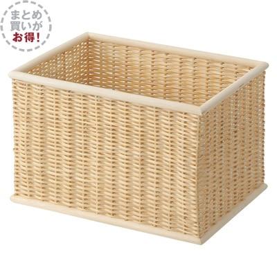 【まとめ買い】重なるブリ材長方形バスケット・大・3個セット