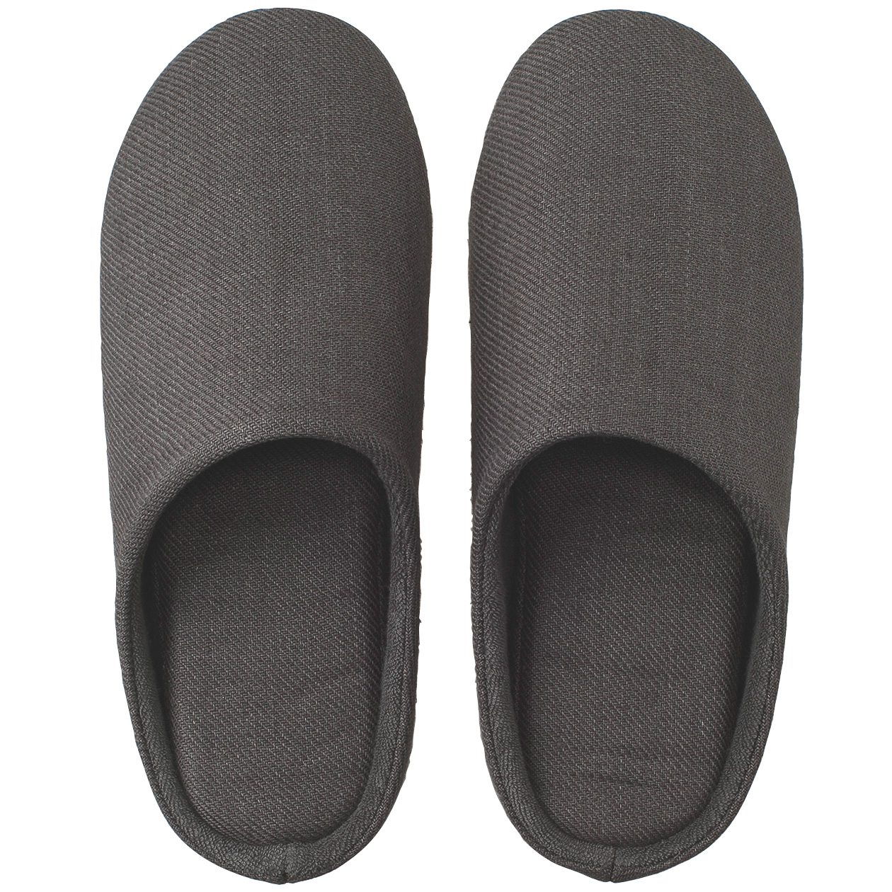 LINEN TWILL CUSHION SLIPPER L DARK GRAY