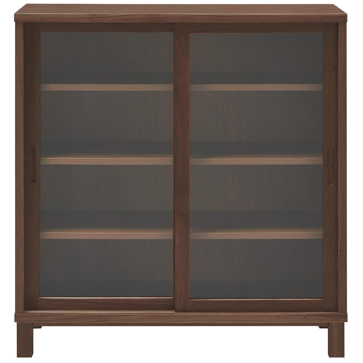Walnut Wood Cabinet With Sliding Glass Door Muji