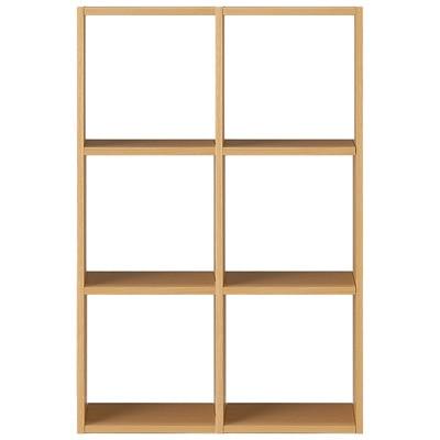 スタッキングシェルフセット・3段×2列・オーク材の写真