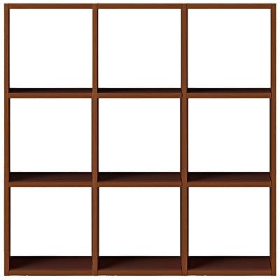 スタッキングシェルフセット・3段×3列・ウォールナット材の写真