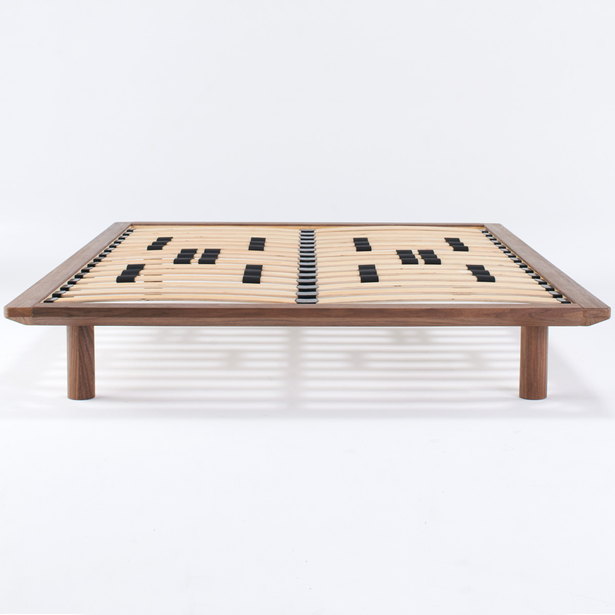 walnut wood bed frame brn double muji