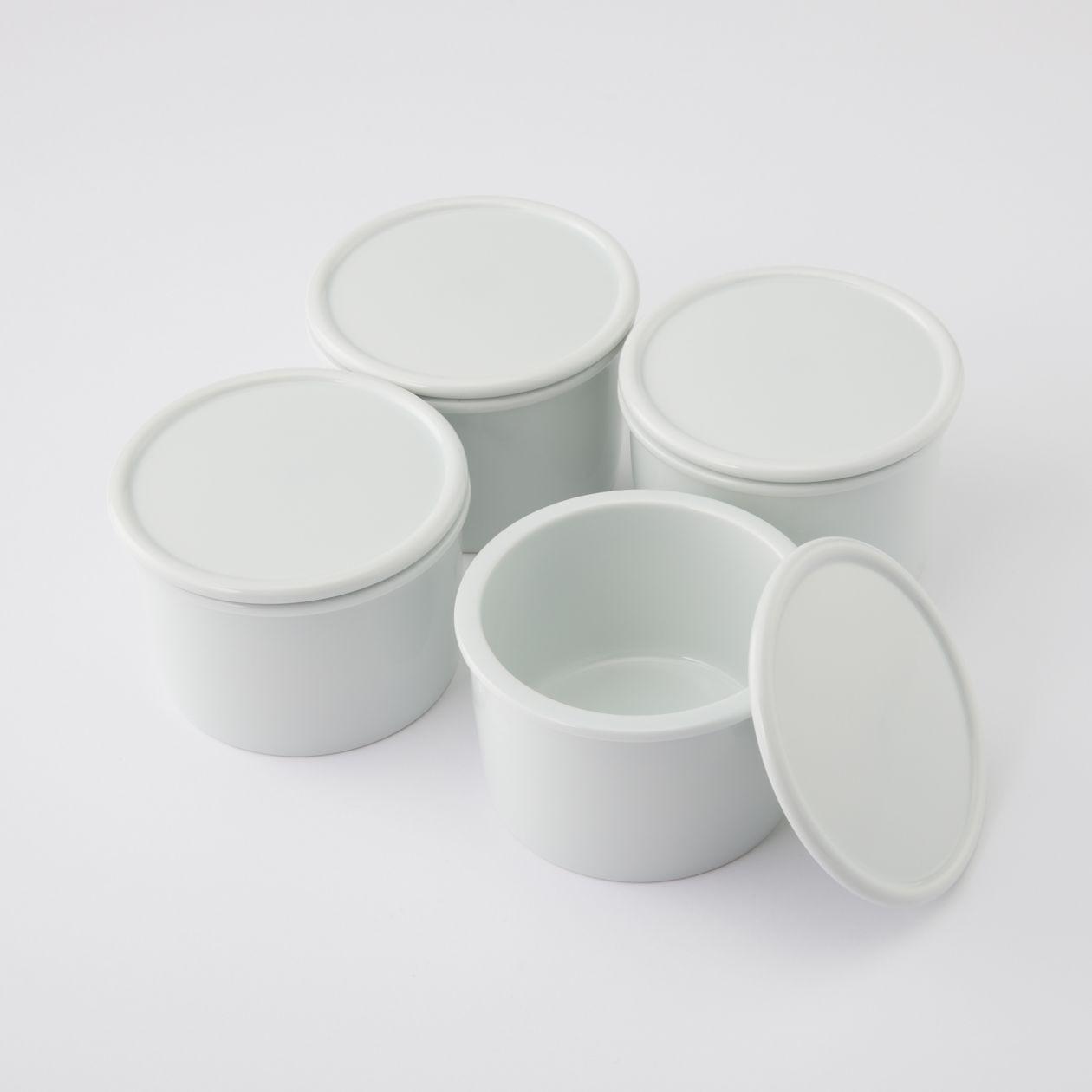 【まとめ買い】白磁保存容器 中