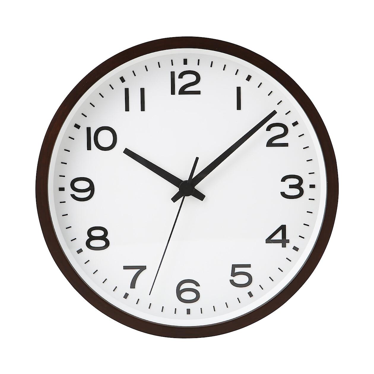analog clock l beech dark brown beech dark brown muji
