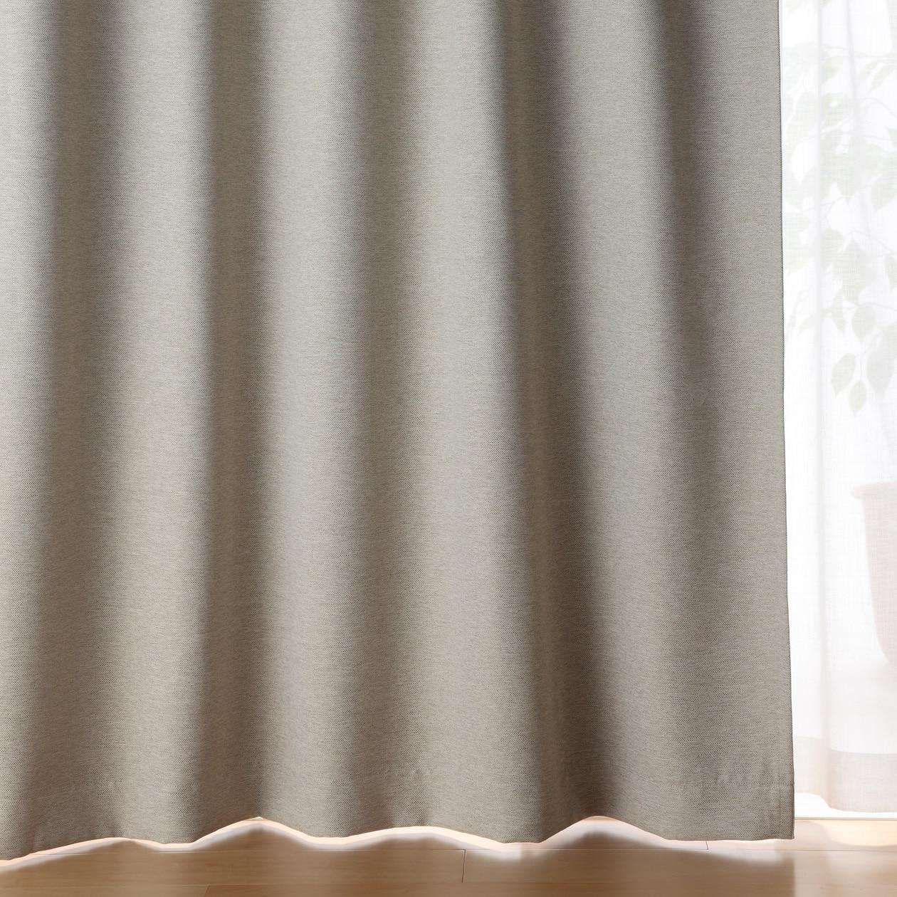 ポリエステル二重織プリーツカーテン(防炎・遮光性)/杢ベージュの写真