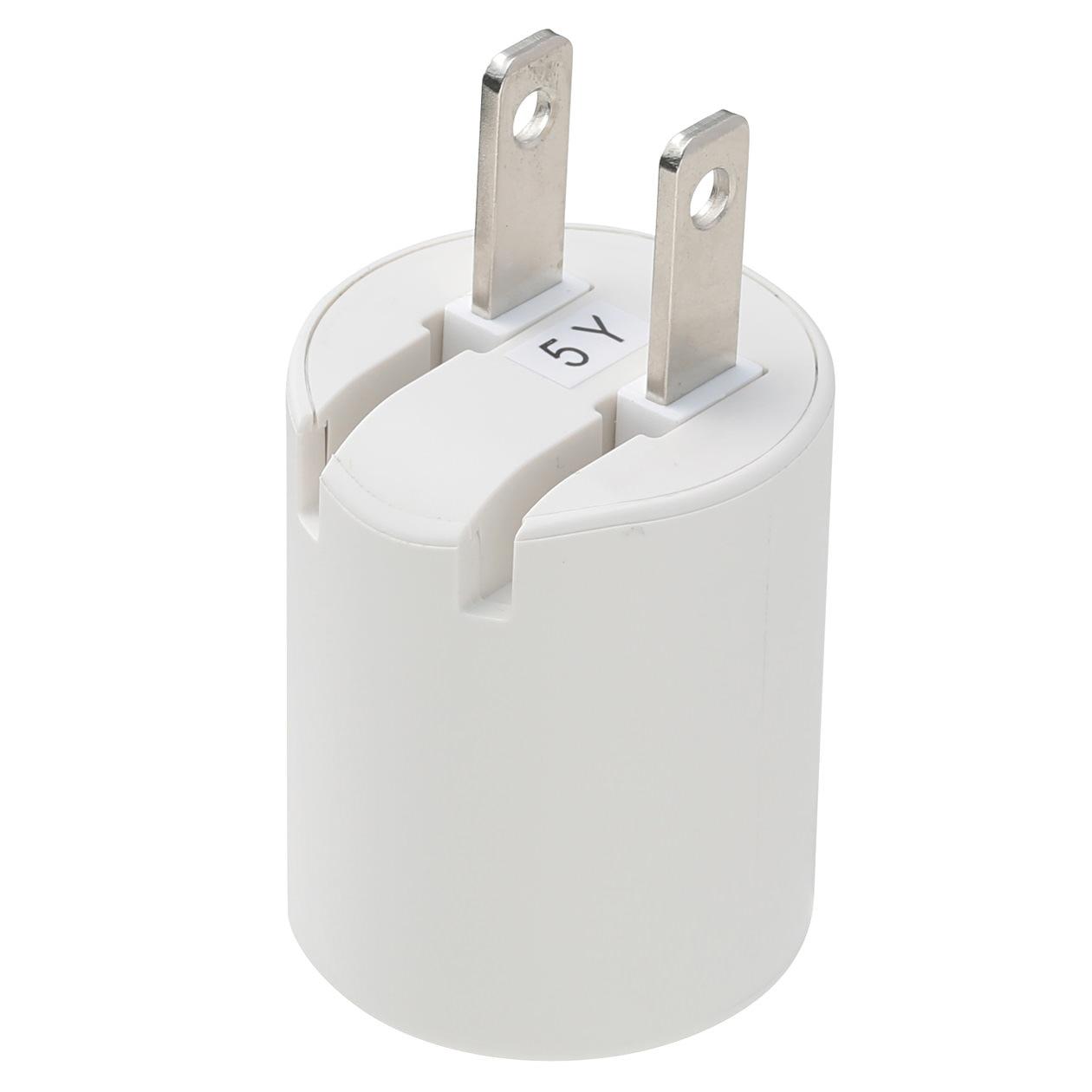 プラグがしまえるUSB用ACアダプター・USBポート1個口
