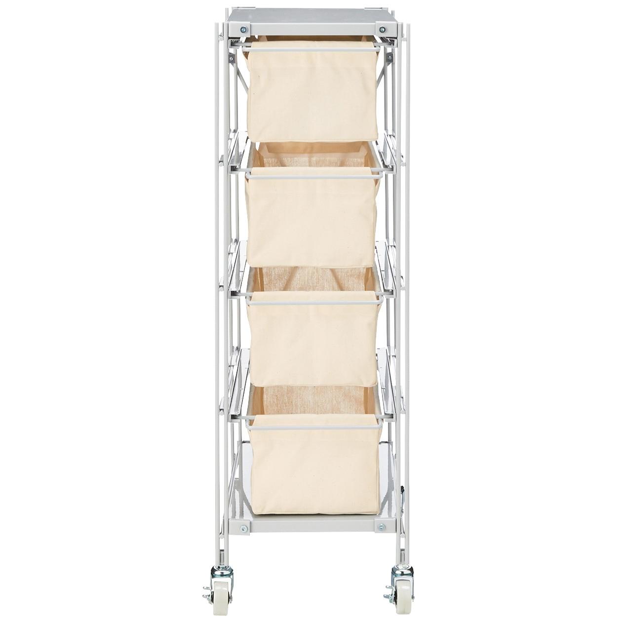 スチールユニットシェルフ帆布バスケットセット・スチール棚板・幅28cmタイプ