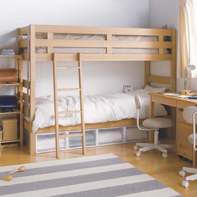 無印良品 | オーク材2段ベッド幅87.5×奥行204×高さ157.5 通販