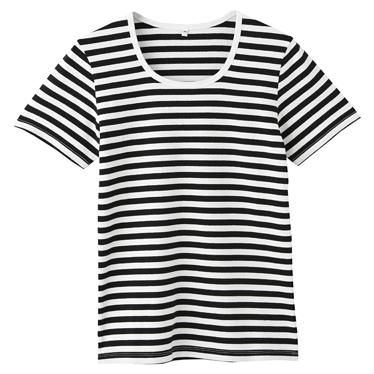 オーガニックコットンストレッチクルーネック半袖Tシャツ(ボーダー)