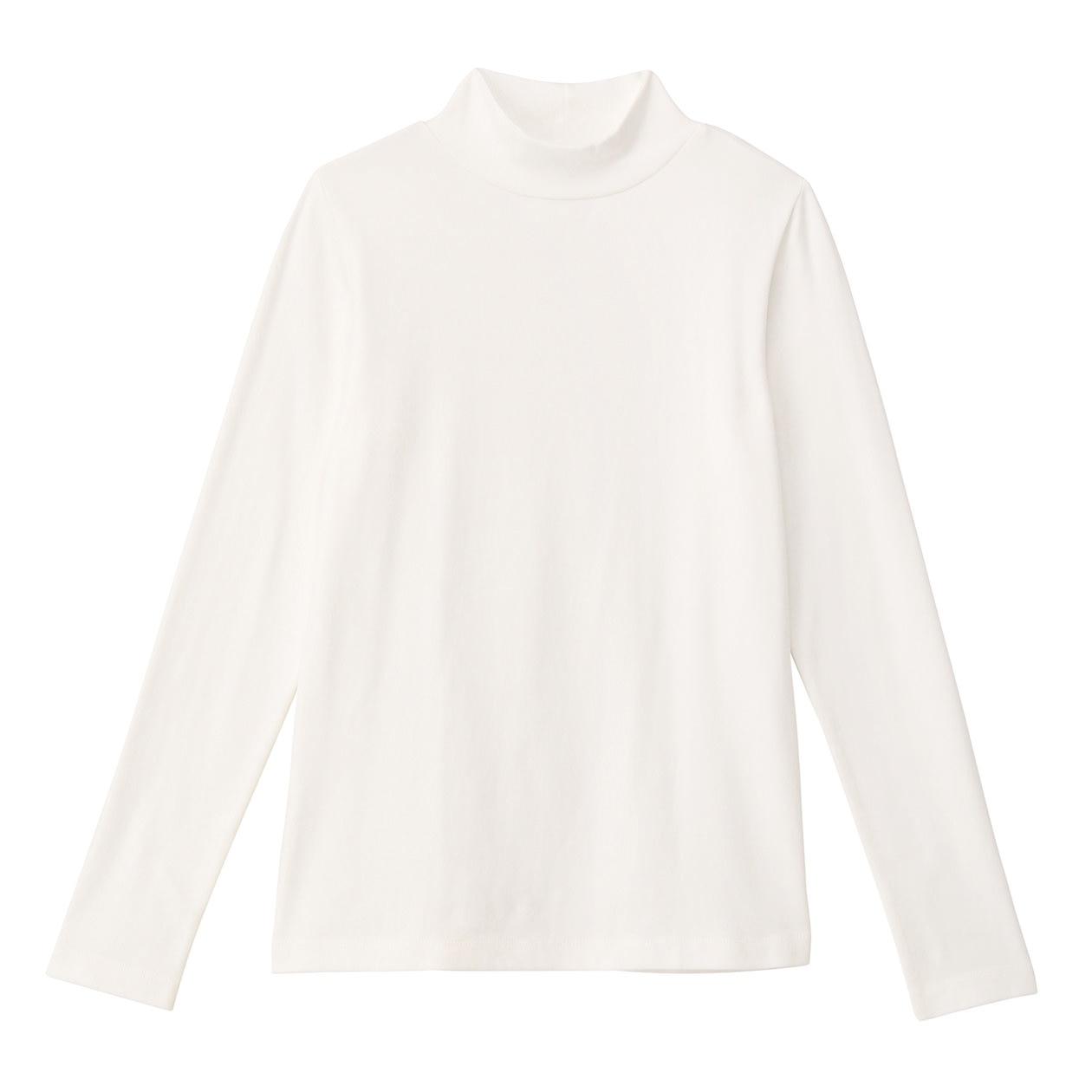 オーガニックコットンストレッチハイネックTシャツ