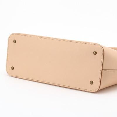 さりげないツートンカラーのヌメ革トートバッグ オレンジ×イエロー(レザー 牛ヌメ革)