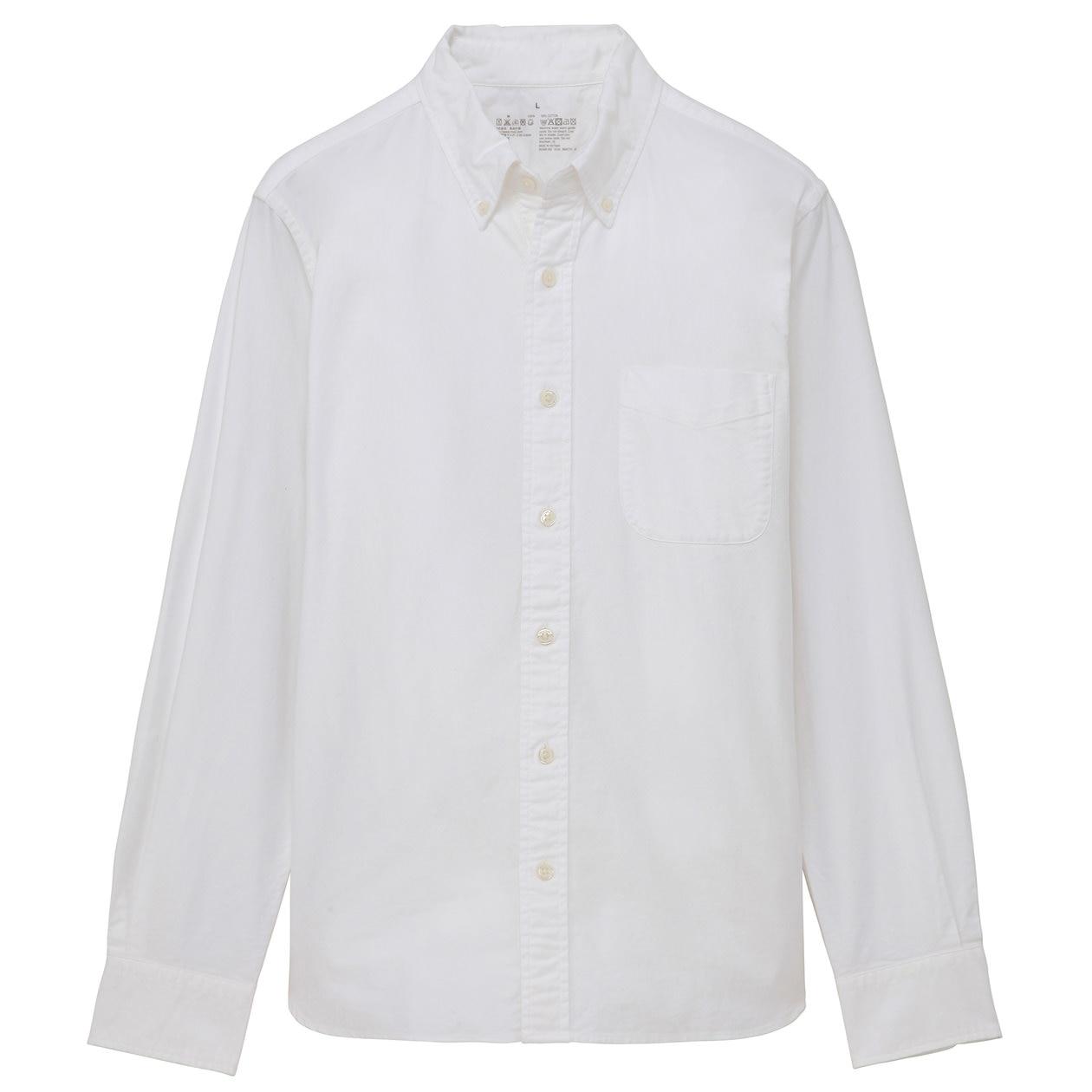 organic cotton oxford button down shirt men s white muji