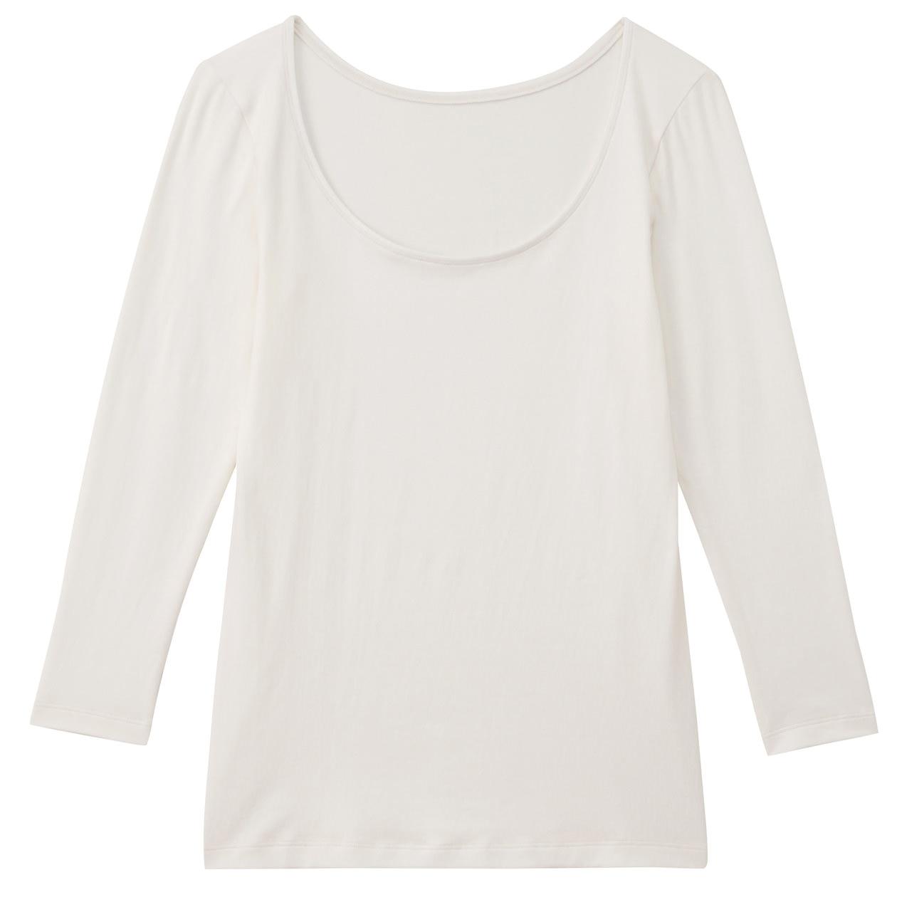 綿混あったかUネック八分袖シャツ