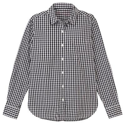 無印良品 | オーガニックコットン洗いざらしギンガムチェックシャツ婦人S・黒 通販