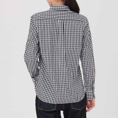 jjyk7-105 無印良品 シャツ 長袖 ギンガムチェック 黒×白 コットン M-L