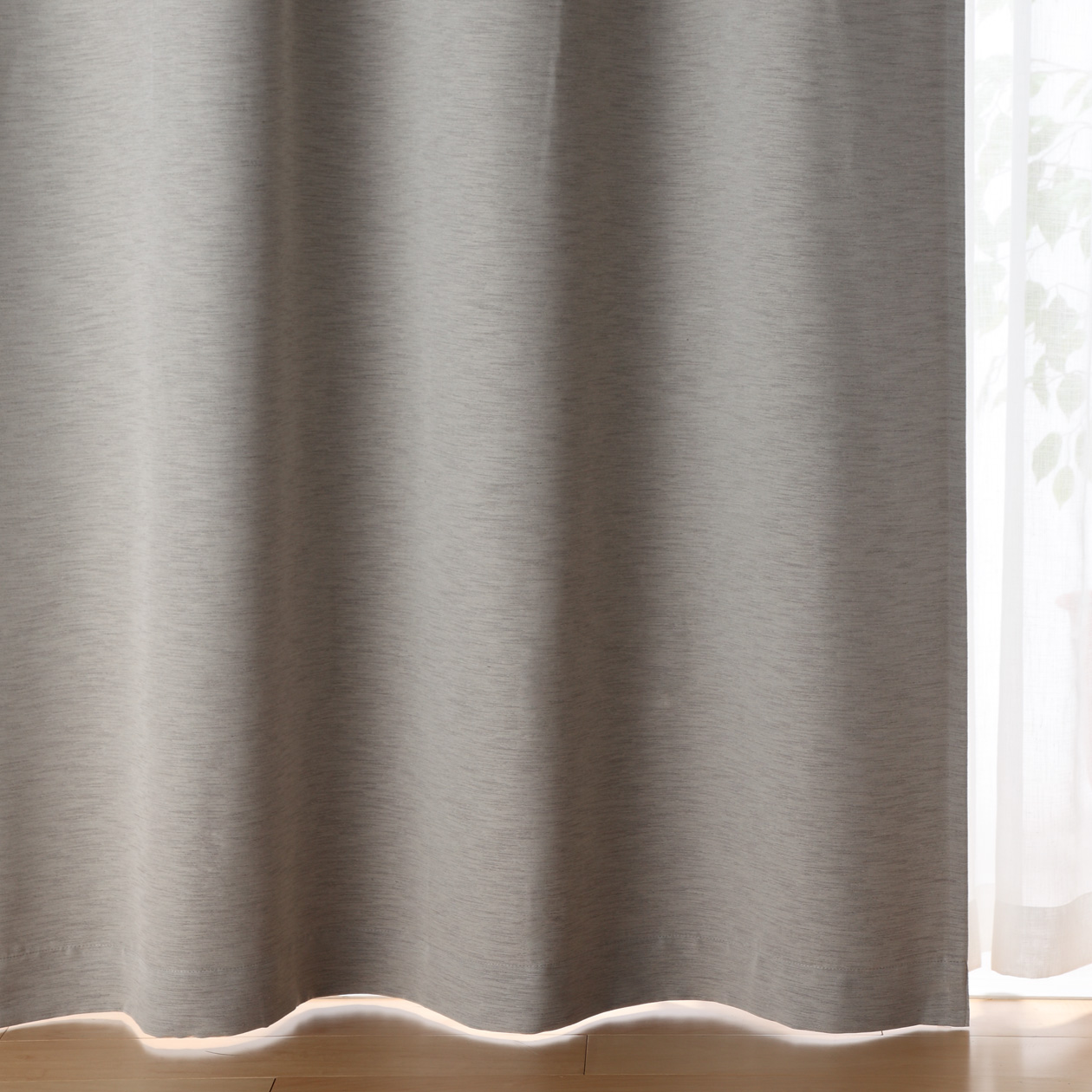 ポリエステルスラブ(防炎・遮光性)プリーツカーテン/グレー 幅100×丈200cm/グレー