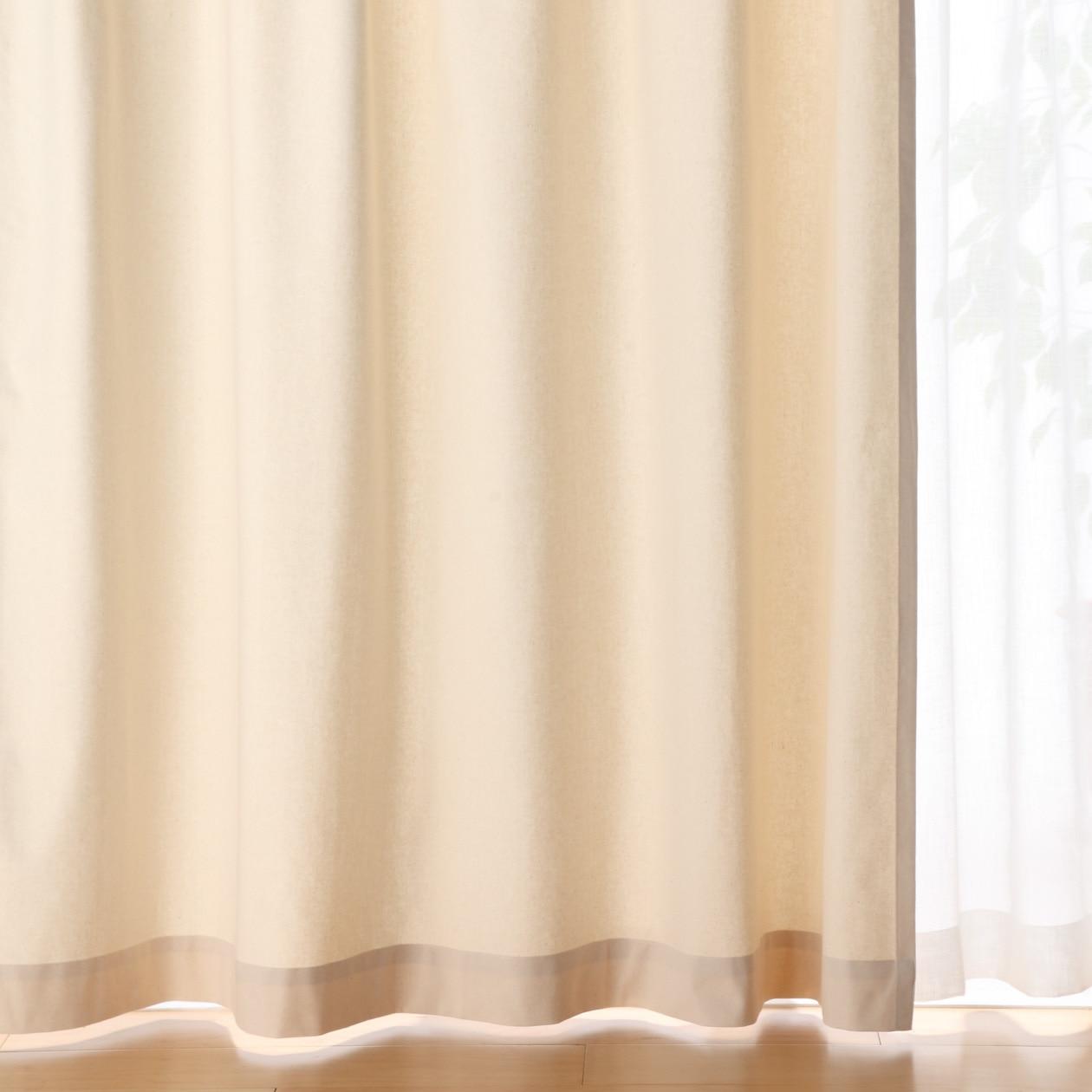 綿帆布プリーツカーテン/生成 幅100×丈200cm/生成