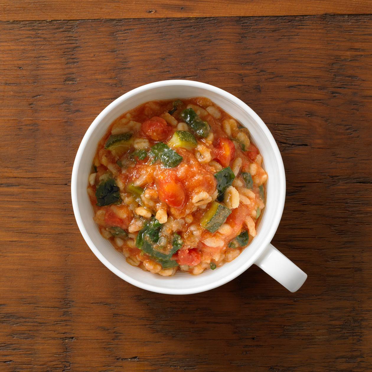小さめごはん グリーン野菜のトマトリゾット